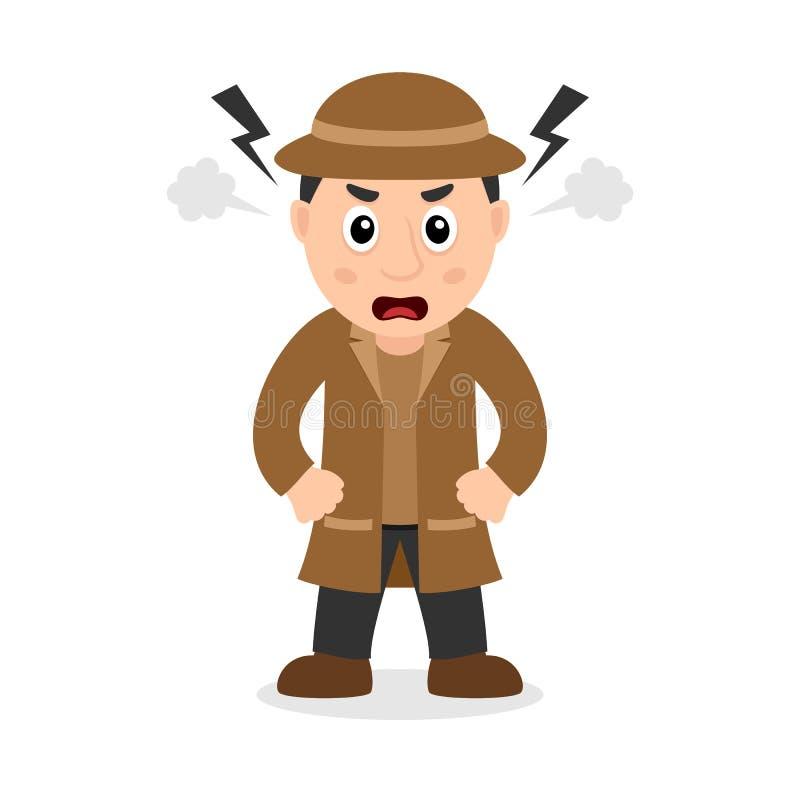 Boze Detective Cartoon Character royalty-vrije illustratie