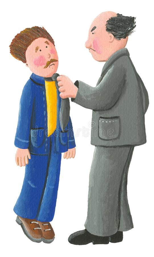Boze die werkgever tijdens een argument, op witte achtergrond wordt geïsoleerd royalty-vrije illustratie