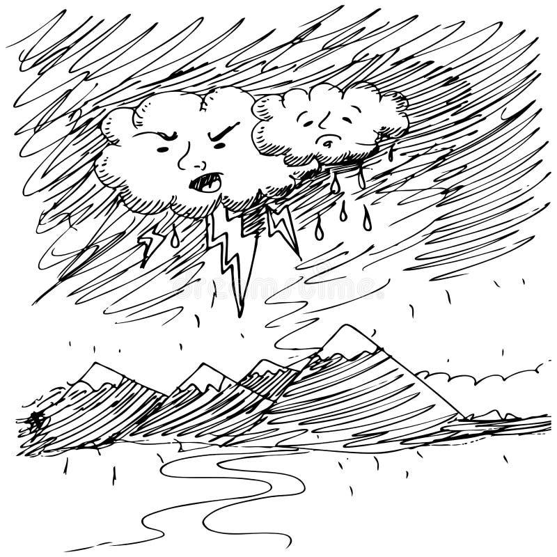 Boze Droevige Wolken vector illustratie