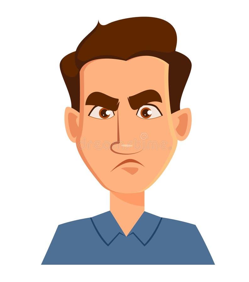 Boze gezichtsuitdrukking van een ontevreden mens -, Mannelijke emoties vector illustratie