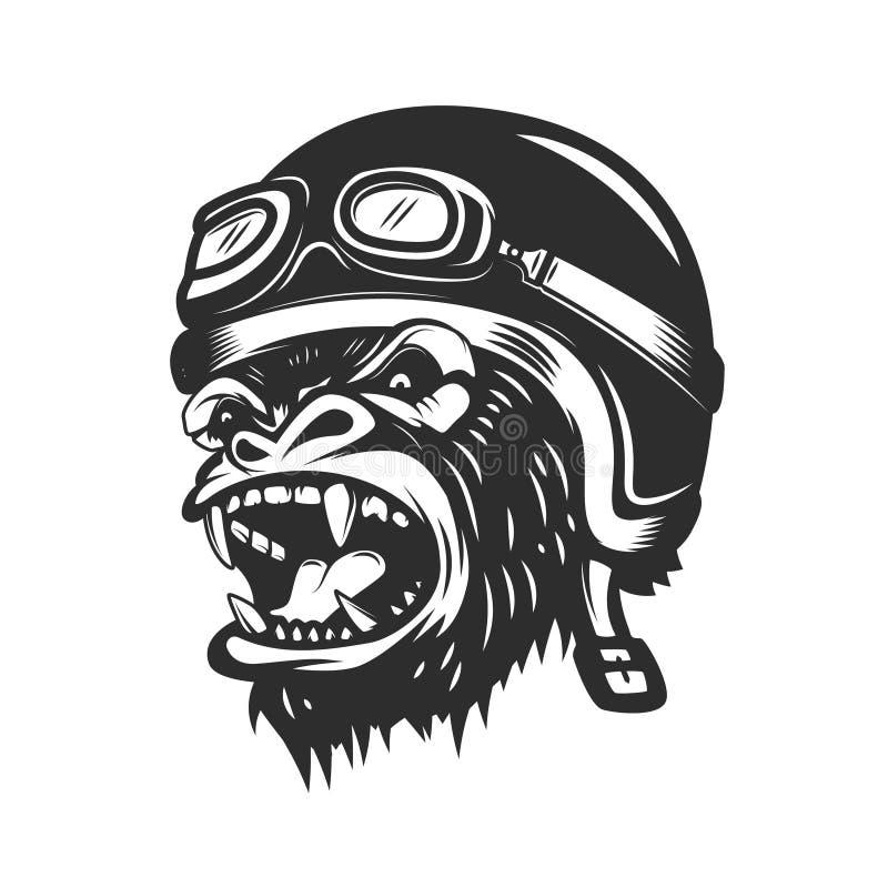 Boze gorillaaap in raceautohelm Ontwerpelement voor embleem, etiket, stock illustratie