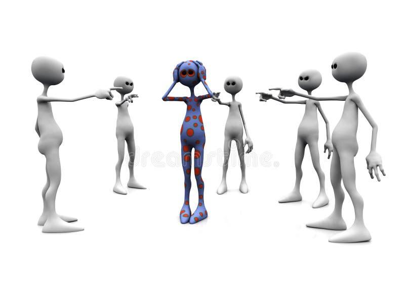 Boze groep die vinger richt. stock illustratie