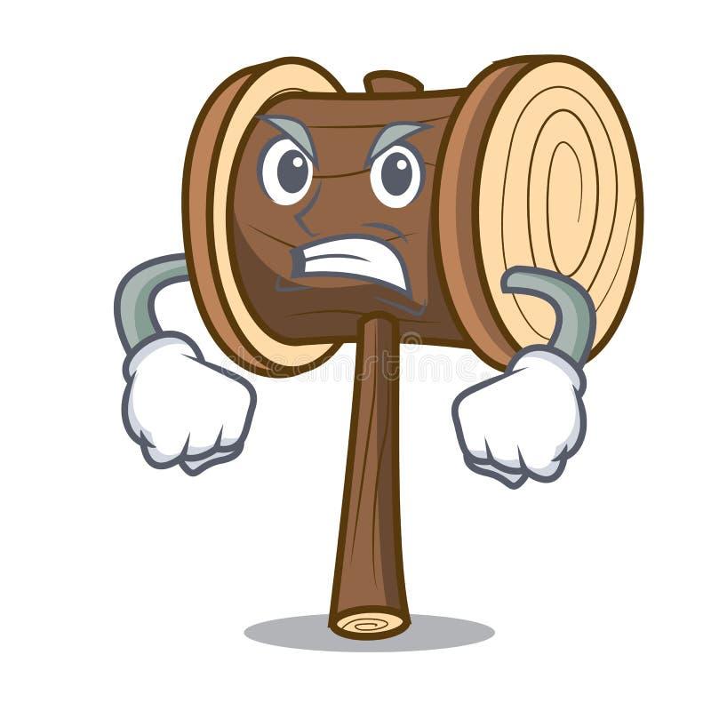 Boze het beeldverhaalstijl van de houten hamermascotte royalty-vrije illustratie