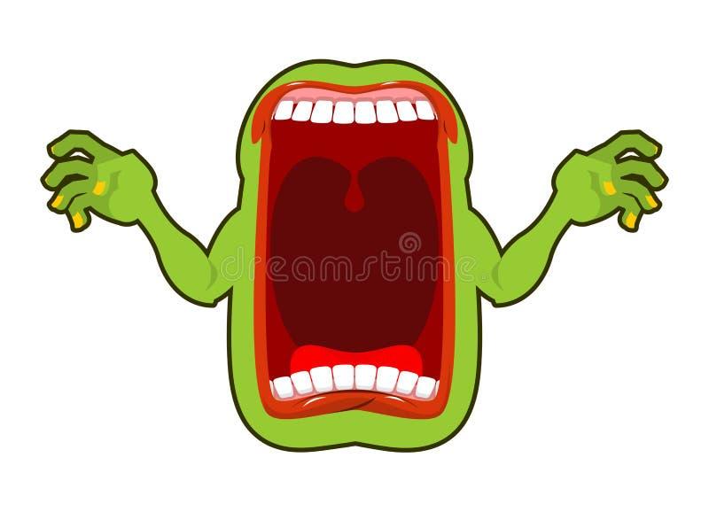 Boze hongerige geest Enge spookschreeuwen Afschuwelijke verschijning frighte stock illustratie