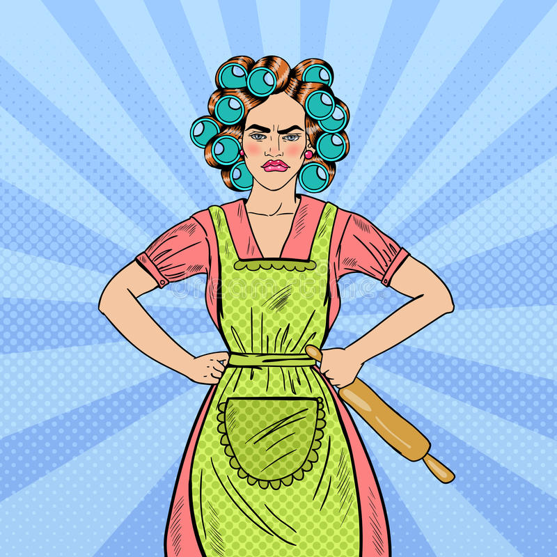 Boze Huisvrouw Pop Art Woman Holding Rolling Pin stock illustratie
