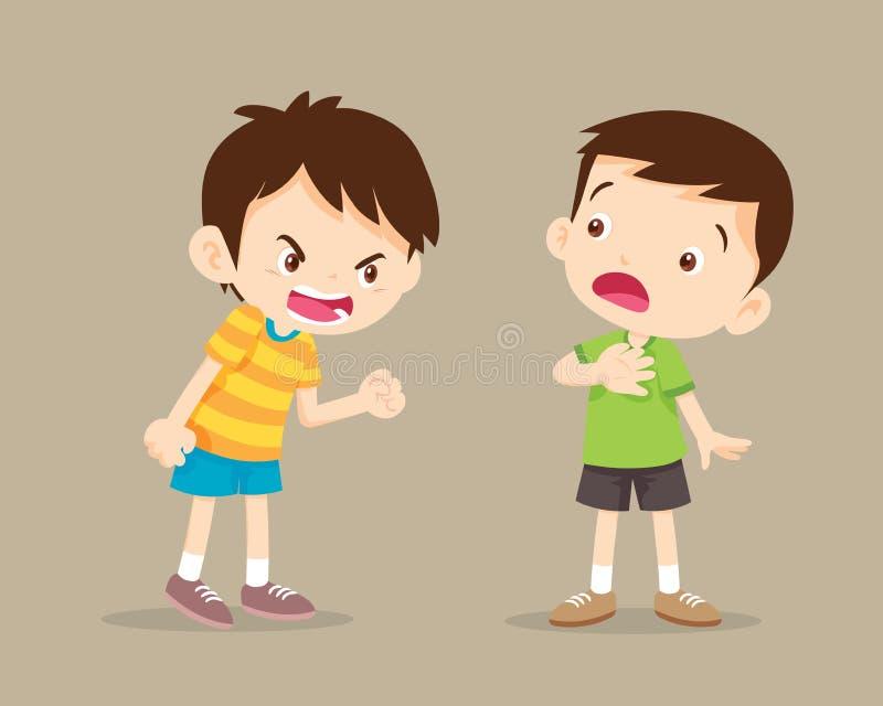Boze jongen die bij vriend schreeuwen royalty-vrije illustratie