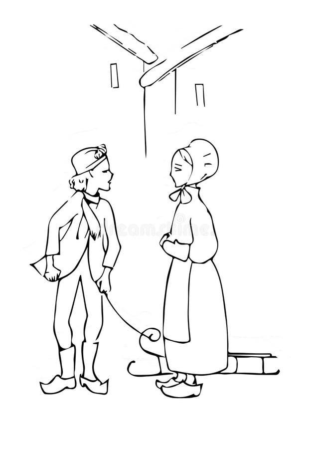 Boze Kay en zachte Gerda royalty-vrije illustratie