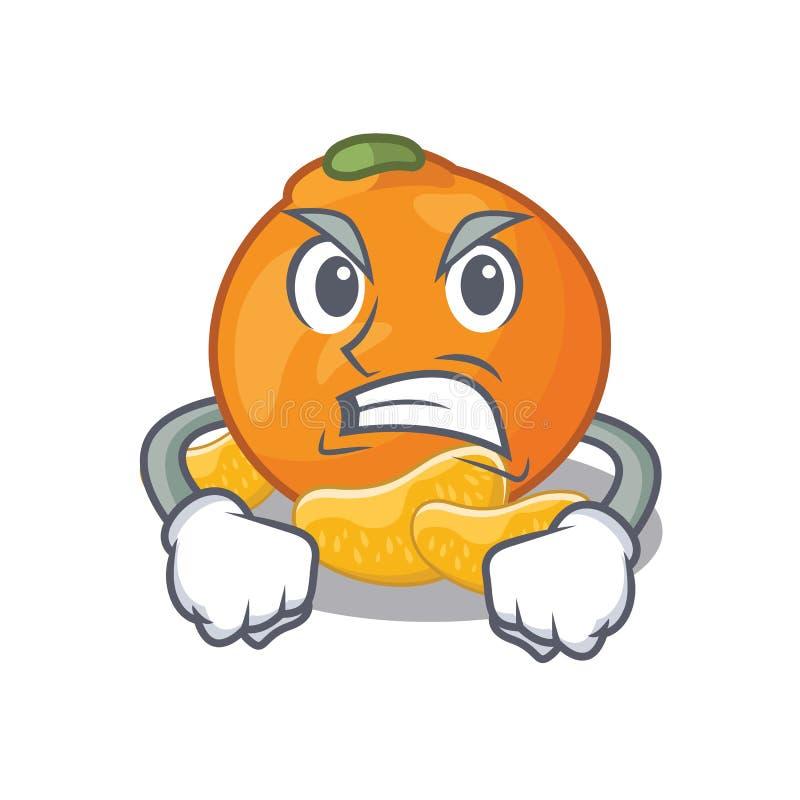 Boze mandarijn met in de mascottevorm vector illustratie
