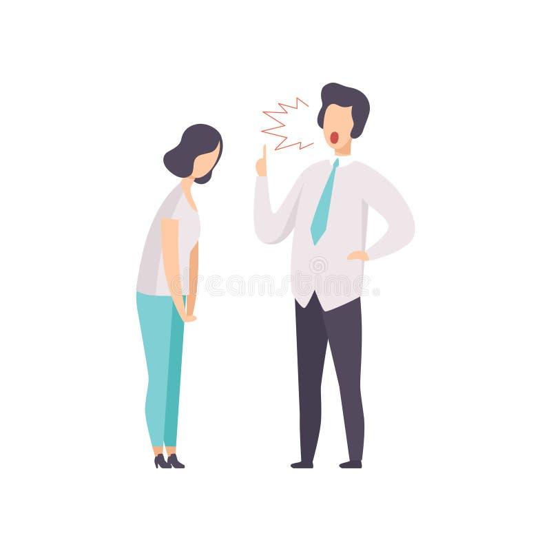 Boze mannelijke werkgever die bij vrouwelijke werknemers vectordieIllustratie schreeuwen op een witte achtergrond wordt geïsoleer stock illustratie