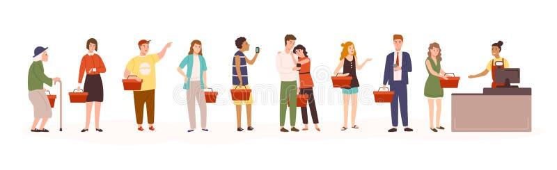 Boze mannen en vrouwen die zich in lijn of rij aan kassier in detailhandel of supermarkt bevinden De mensen die in kruidenierswin vector illustratie