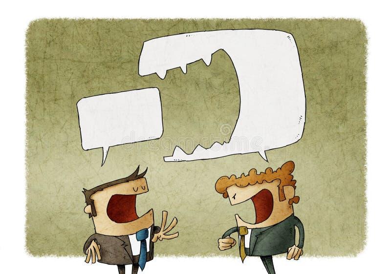 Boze mens die bij de een andere mens schreeuwen royalty-vrije illustratie