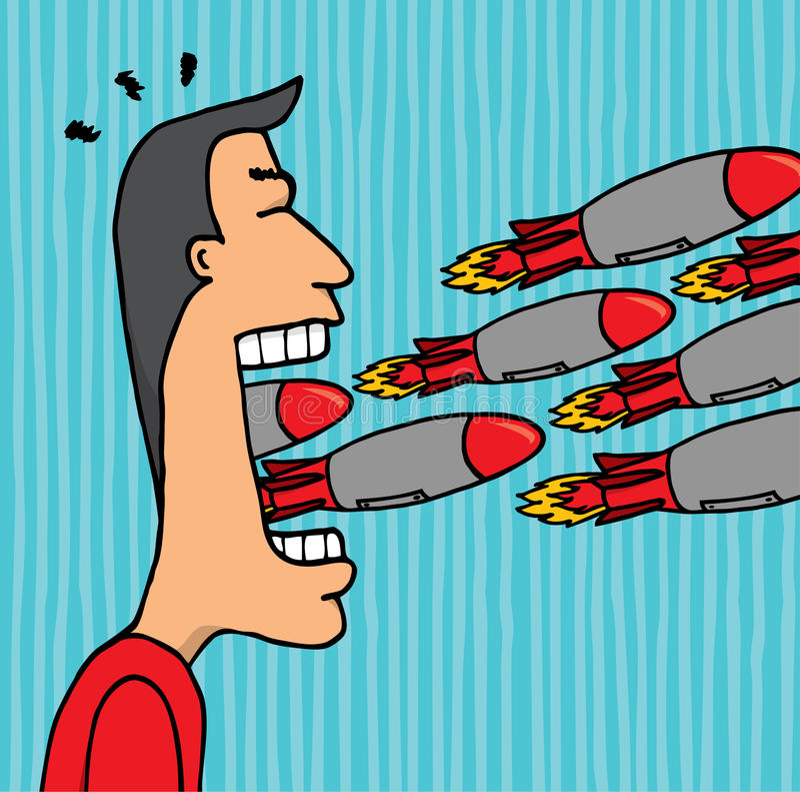 Boze mens die en het beledigen raketten razen en tieren royalty-vrije illustratie
