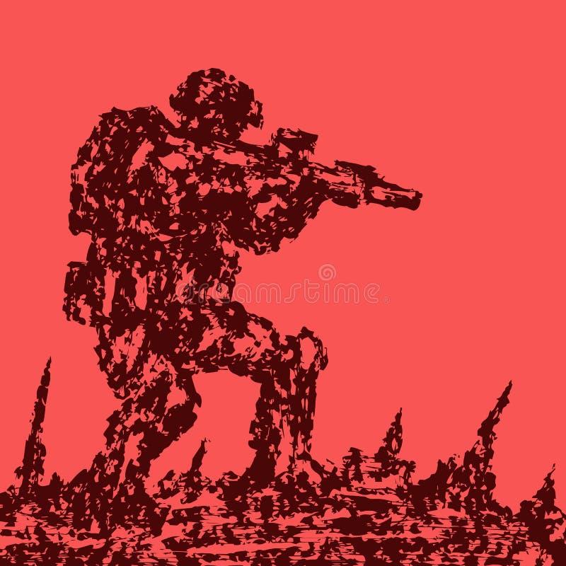 Boze militair die het slagveld aanvallen Bekijk mijn galerij want meer beelden van dit modelleert Militaire kunst en schetsen Gev royalty-vrije illustratie