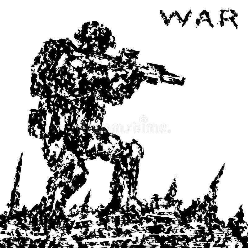 Boze militair die het slagveld aanvallen Vector illustratie royalty-vrije illustratie