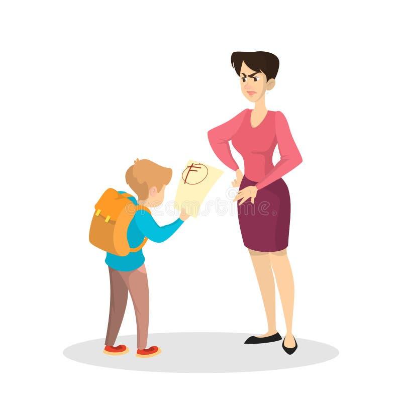 Boze moeder en verstoorde jongen met slechte rangen vector illustratie