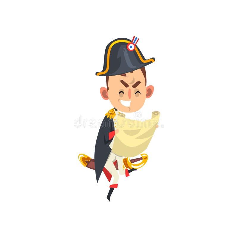 Boze Napoleon Bonaparte-de holdingskaart van het beeldverhaalkarakter in zijn handen, grappige Franse historische cijfer vectoril stock illustratie