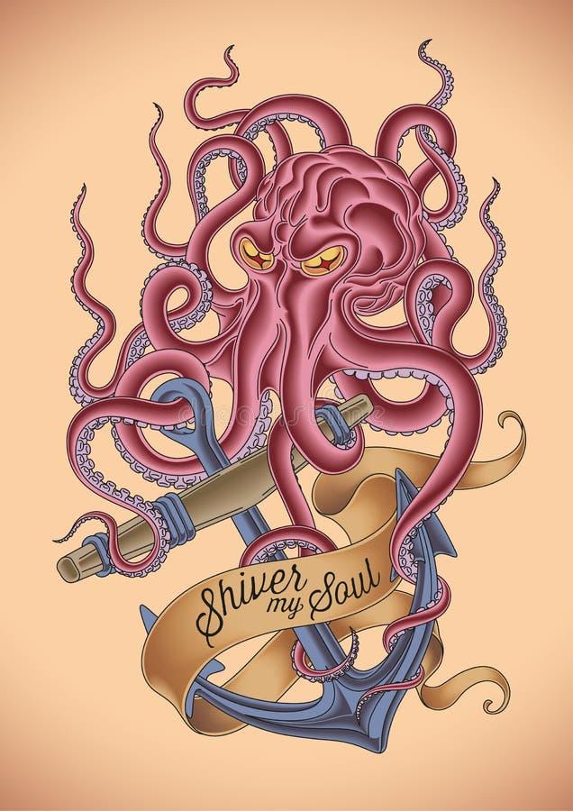 Boze octopustatoegering stock illustratie