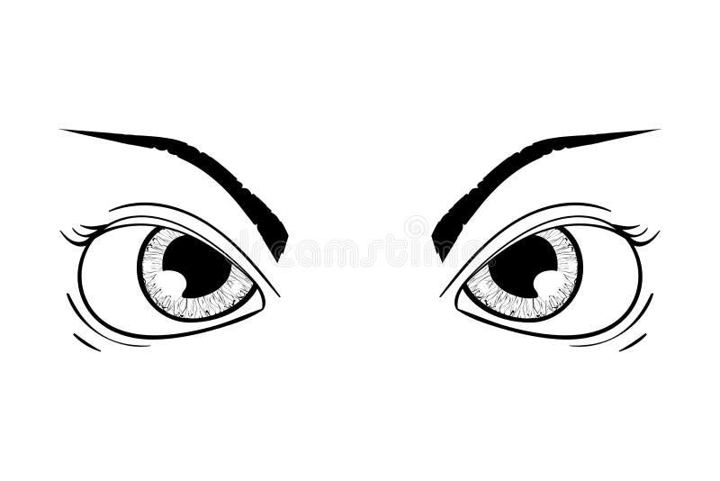 Boze ogen Hand getrokken schets stock illustratie