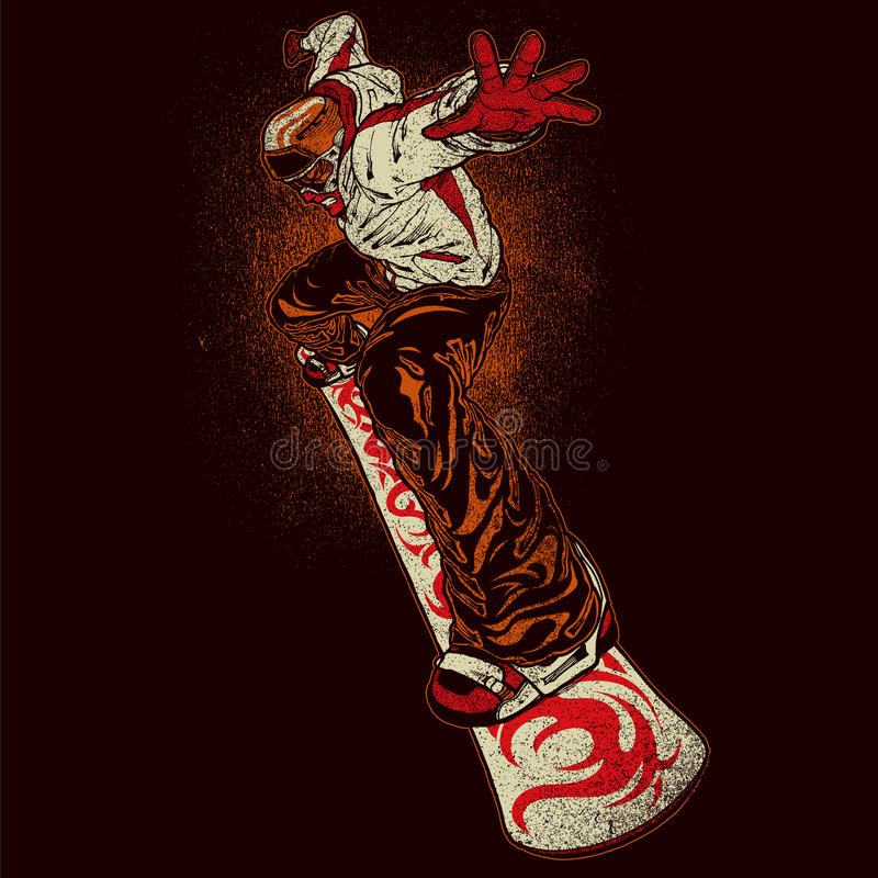 Boze snowboarder royalty-vrije illustratie