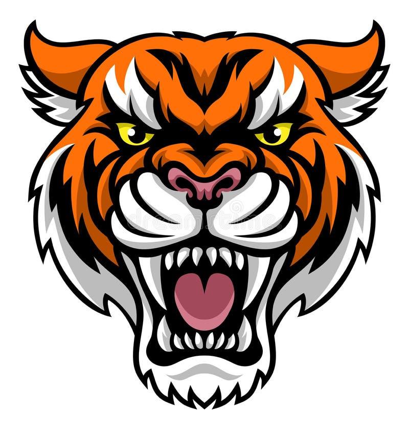Boze tijgermascotte royalty-vrije illustratie