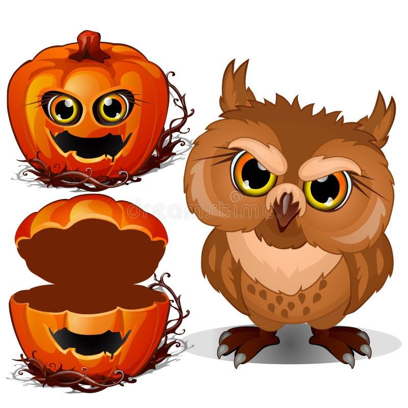 Boze uil en eng de pompoengezicht van Halloween Vectordieillustratie in beeldverhaalstijl op een wit wordt geïsoleerd stock illustratie