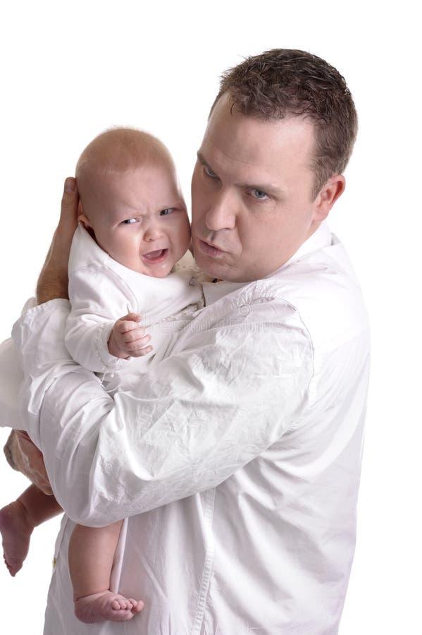 Boze vader met schreeuwende baby royalty-vrije stock fotografie