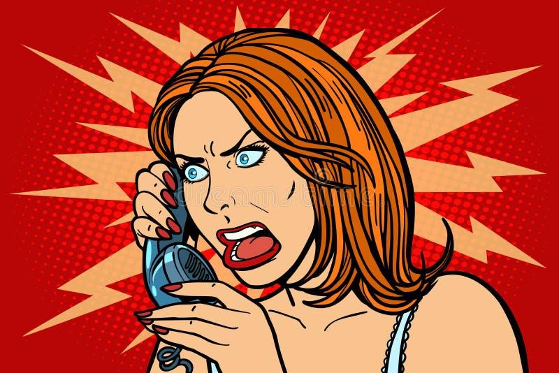 Boze vrouw die op de telefoon spreekt emoties royalty-vrije illustratie