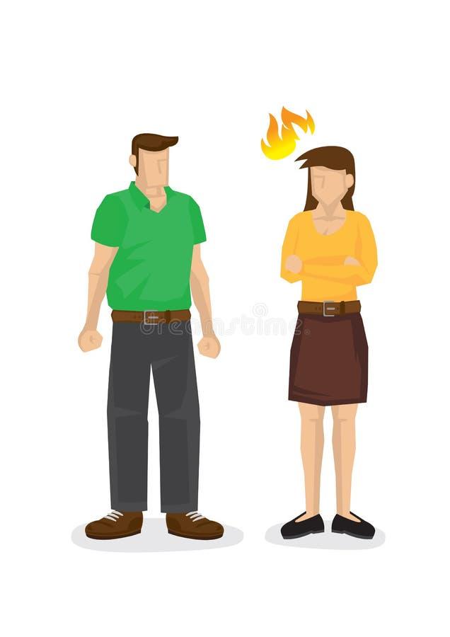 Boze vrouw niet gelukkig met haar echtgenoot Concept argument, meningsverschil of oneerlijkheid royalty-vrije illustratie
