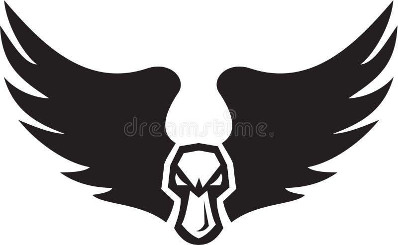 Boze Wilde eend Duck Head Wings Retro royalty-vrije illustratie