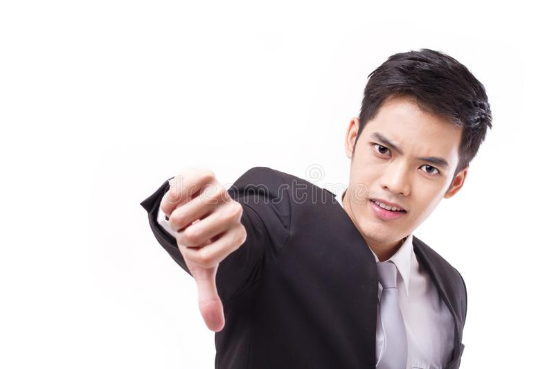 Boze zakenman die duim neer geven royalty-vrije stock foto