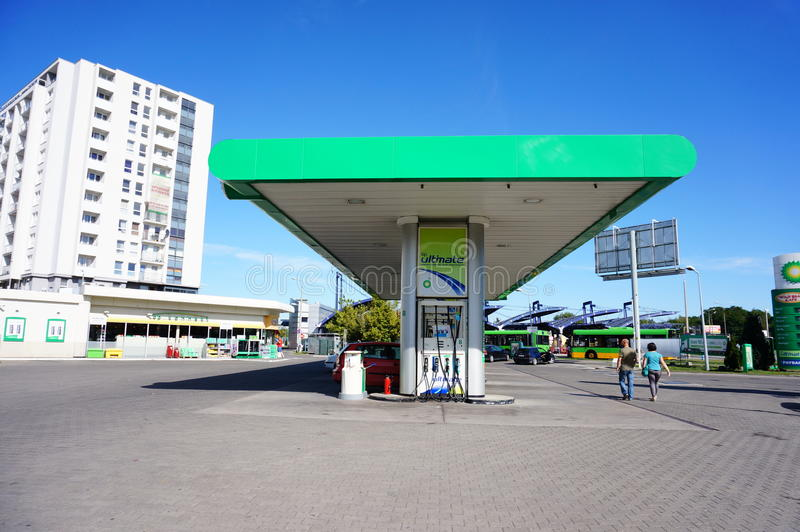 BP filling station stock photos