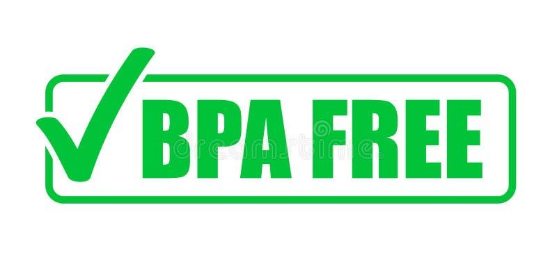 BPA自由传染媒介绿色校验标志象 自然食物包裹邮票,健康BPA自由安全封印邮票 库存例证