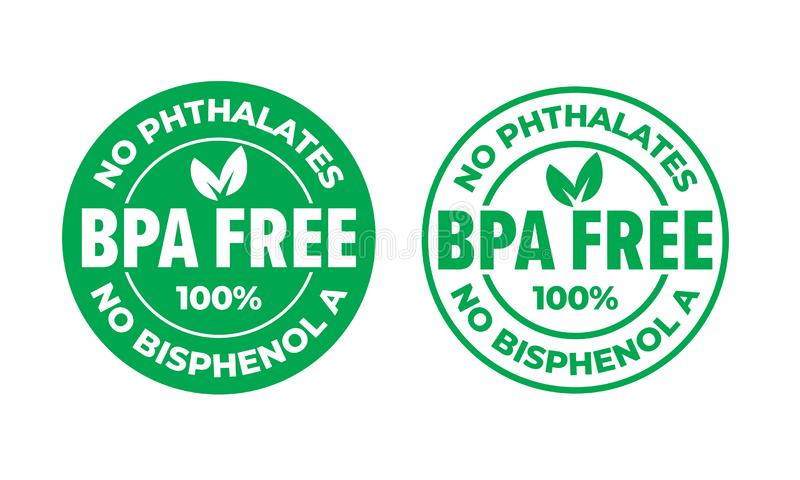 BPA free vector certificate icon. No phthalates and no bisphenol, safe food package stamp, check mark and green leaf. Label royalty free illustration