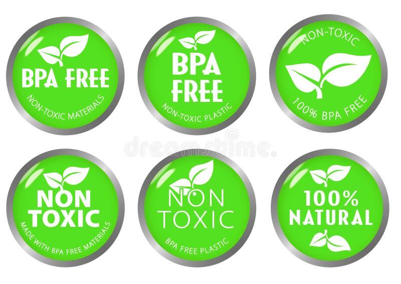 BPA Uwalniają atoksyczną ikony etykietkę ilustracji