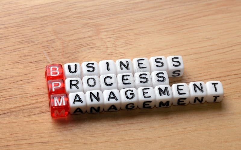 BPM在木头的商业运作管理 库存图片