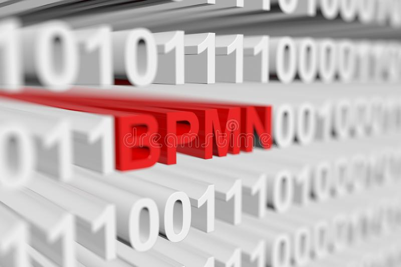 Bpmn. As a binary code with blurred background 3D illustration vector illustration