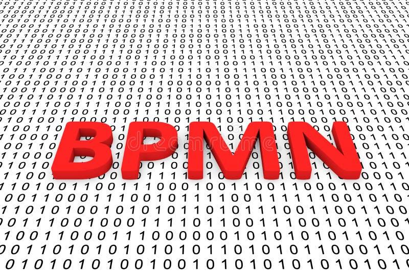 Bpmn. As a binary code 3D illustration stock illustration