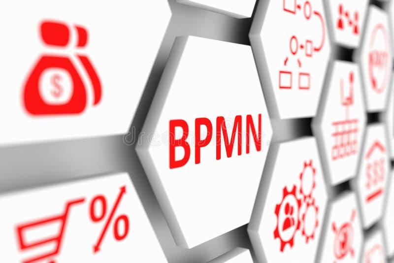BPMN concept. Cell blurred background 3d illustration vector illustration