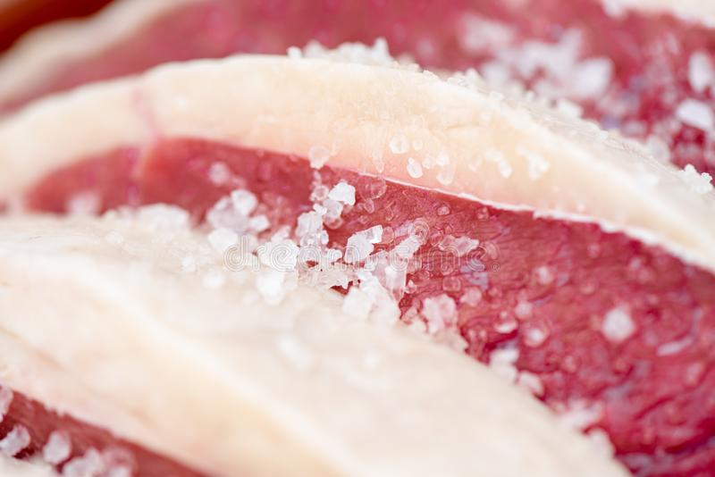 Bqq raw and salt fat meat royalty free stock images