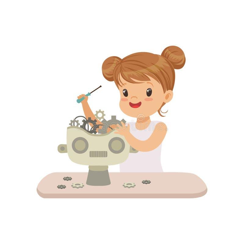 Brânquia pequena bonita que cria o robô esperto, robótica e programando para crianças, vetor futurista da inteligência artificial ilustração stock