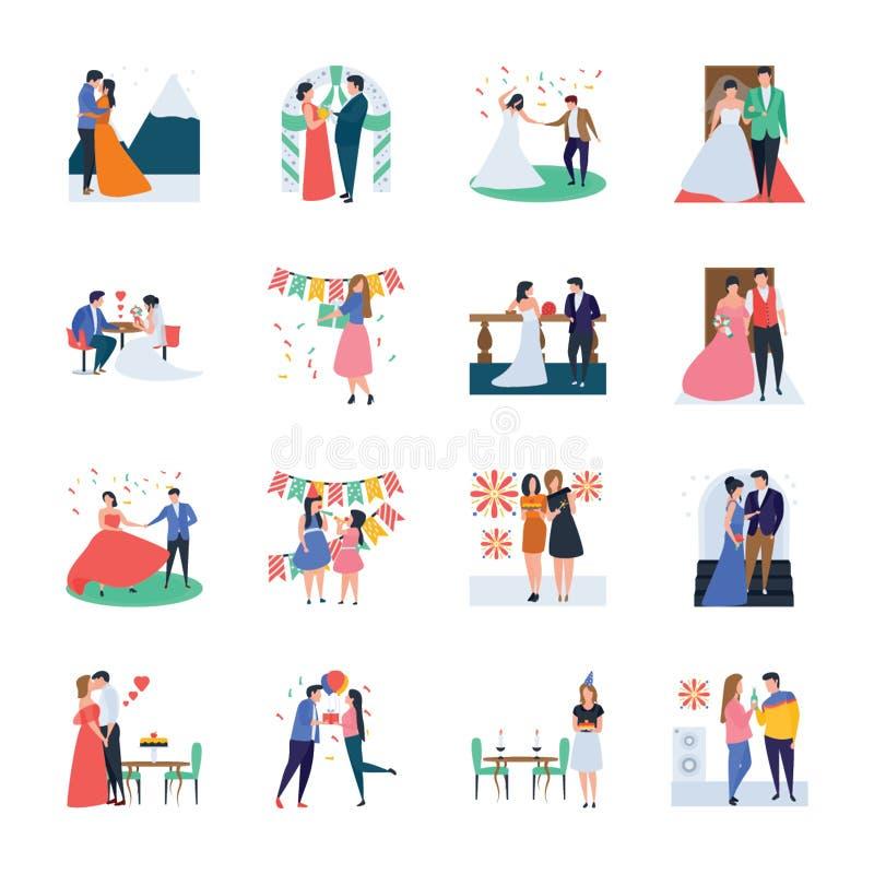 Bröllopceremoni, beröm, parti, födelsedagvektorpacke royaltyfri illustrationer