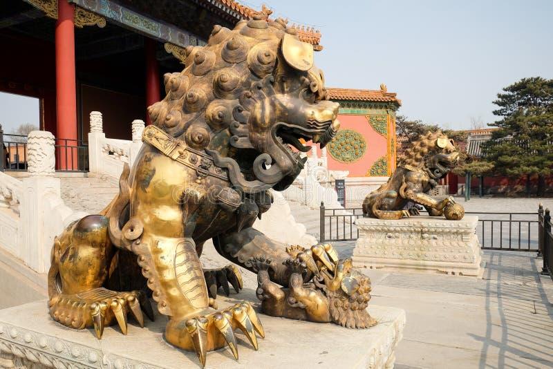 Brązowi lwy w Niedozwolonym mieście, Pekin Chiny fotografia stock