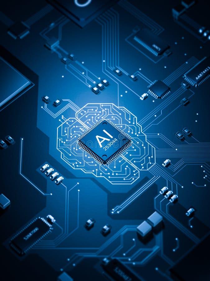 Bräde för elektronisk strömkrets för konstgjord intelligens royaltyfri illustrationer