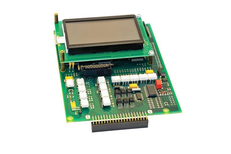 Bräde för elektronisk strömkrets med skärm. arkivfoto
