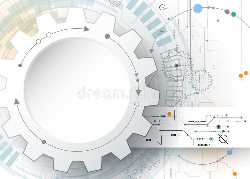 Bräde för hjul och för strömkrets för vektorillustrationkugghjul, högteknologisk digital teknologi och teknik royaltyfri illustrationer