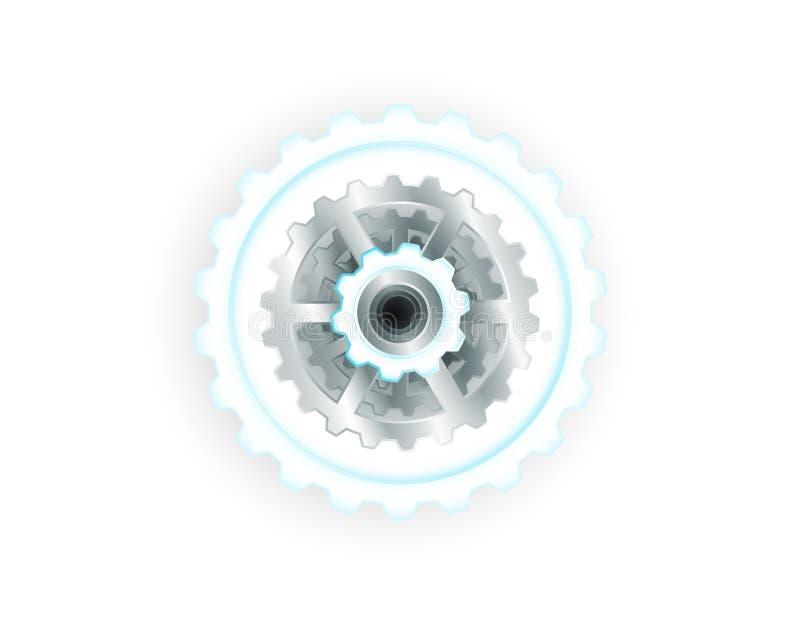Bräde för hjul och för strömkrets för vektorillustrationkugghjul, högteknologisk digital teknologi och teknik Futuristiskt abstra royaltyfri illustrationer