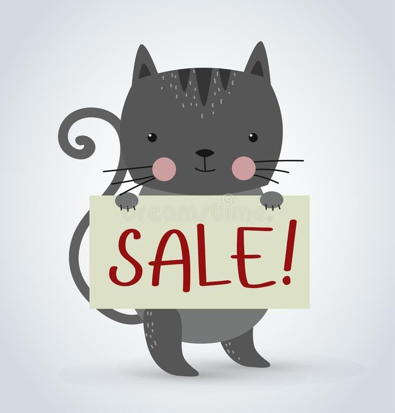 Bräde för platta för rengöring för slag för innehav för älsklings- djur för katt royaltyfri illustrationer