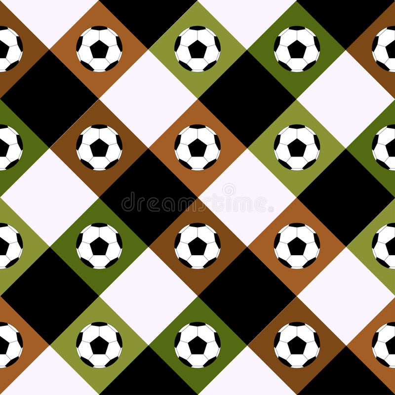 Bräde för schack för brunt för fotbollbollgräsplan Diamond Background vektor illustrationer