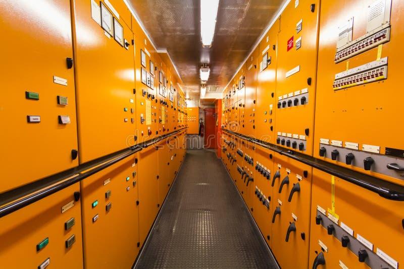 Bräde för strömbrytare för elektriskt system för skepp arkivfoto