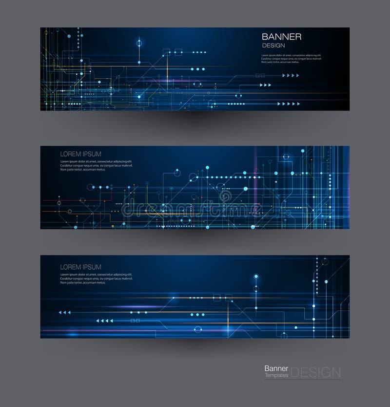 Bräde för strömkrets för fastställd design för vektorbaner Abstrakt modernt futuristiskt för illustration, teknik, teknologibakgr vektor illustrationer